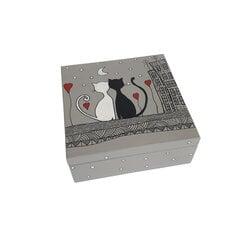 Rotaslietu kastīte, pelēka krāsa, 15x15x6 cm cena un informācija | Rotaslietu lādītes | 220.lv