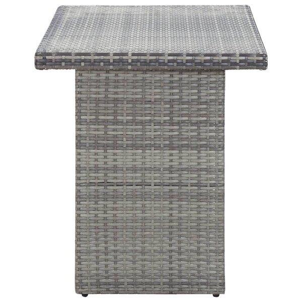 vidaXL dārza galds, antracītpelēks, 110x60x67 cm, PE rotangpalma internetā