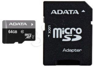A-Data Premier microSDXC 64GB Class 10 ar SD adapteris