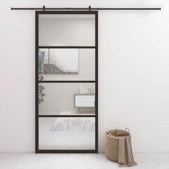 vidaXL - bīdāmās durvis, melnas, 90x205cm, alumīnija un ESG stikla cena un informācija | vidaXL - bīdāmās durvis, melnas, 90x205cm, alumīnija un ESG stikla | 220.lv