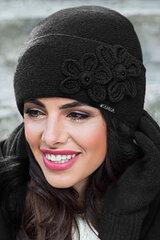 Sieviešu cepure ar pērlītēm un ziediem, melnā krāsā цена и информация | Sieviešu cepure ar pērlītēm un ziediem, melnā krāsā | 220.lv