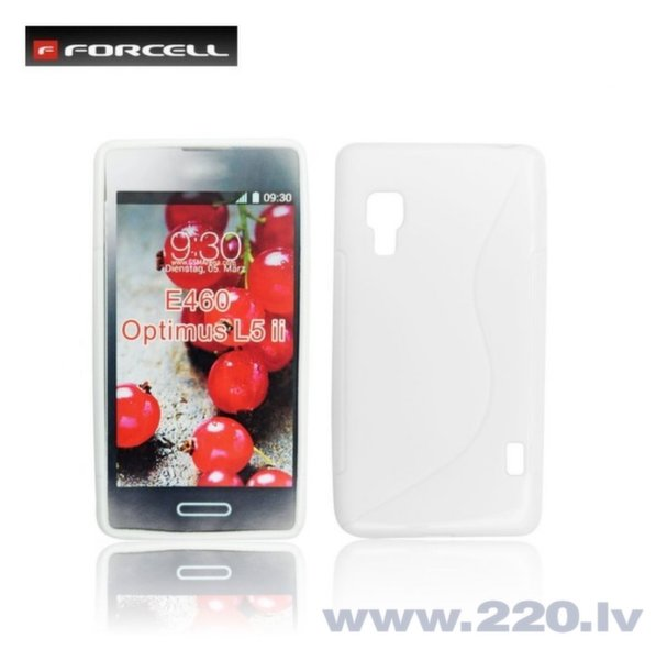 Forcell Back Case S-Line gumijots telefona apvalks priekš LG E460 Optimus L5 2, Balts