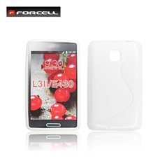 Forcell Back Case S-Line gumijots telefona apvalks priekš LG E435 Optimus L3 2, Balts