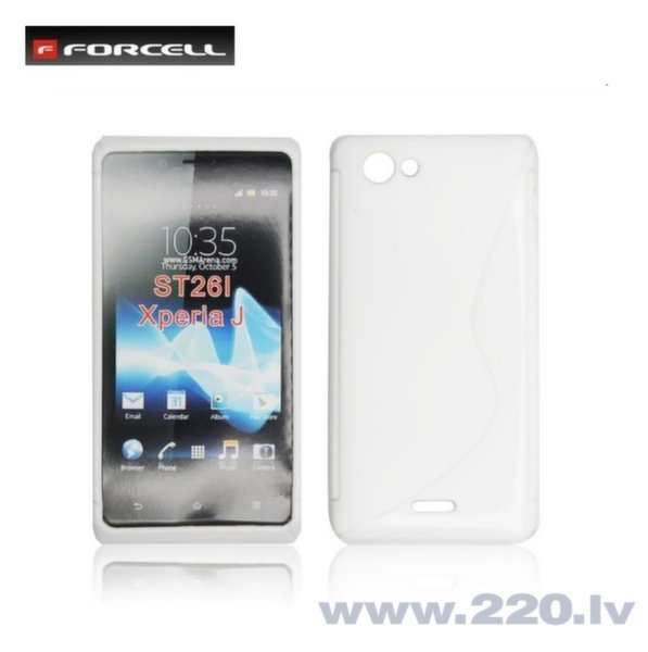 Forcell Back Case S-Line gumijots telefona apvalks priekš Sony ST26i Xperia J, Balts