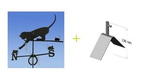 Vēja rādītājs - Kaķis + Vēja rādītāja vertikāls stiprinājums cena un informācija | Dārza dekori | 220.lv