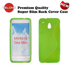 Telone Back Case S-Case gumijots telefona apvalks HTC One Mini 601S Zaļš