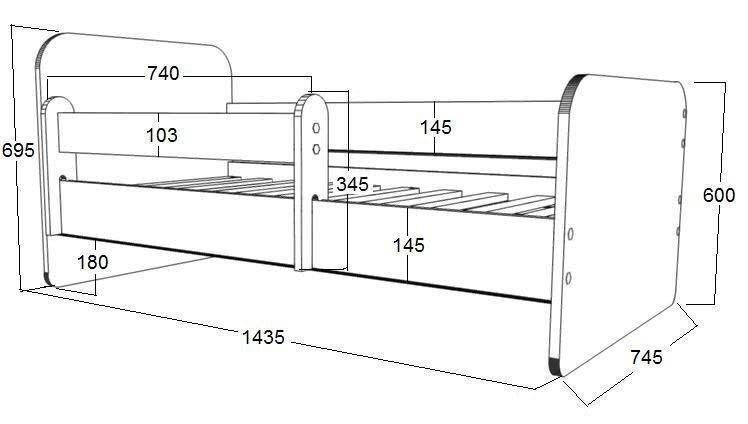 Gulta ar matraci, veļas kasti un noņemamu maliņu Ami 38, 140x70cm cena
