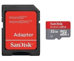 SanDisk Ultra microSDHC Android 32GB Class10 + SD adapteris