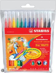 Aromātiskie flomāsteri Stabilo Trio Frutti, 12 krāsas cena un informācija | Modelēšanas un gleznošanas piederumi | 220.lv