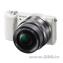 Sony Alpha A5100 + 16-50mm komplekts, Balta