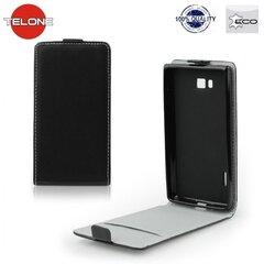 Telone Flexi Slim Flip Sony D2502 D2533 Xperia C3 vertikāli atverams silikona ietvarā Melns