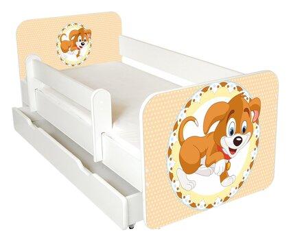 Gulta ar matraci, veļas kasti un noņemamu maliņu Ami 51, 140x70cm cena un informācija | Bērnu gultas | 220.lv