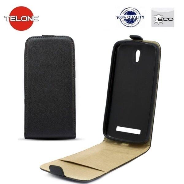 Telone Shine Pocket Slim Flip Case Samsung i9070 Galaxy Advance telefona maks vertikāli atverams Melns
