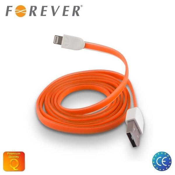 Forever Плоский силиконовый USB Кабель данных и заряда на Lightning iPhone 5 5S 6 Оранжевый (MD818 Аналог)