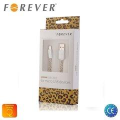Forever Plakans Silikona Universāls Mikro USB Kabelis 1m ar Leopārda ādas printu (EU Blister)