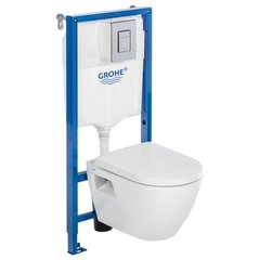 WC komplekts Grohe Serel One: WC montāžas rāmis + tualetes pods Roca GAP + poga + soft-close vāks