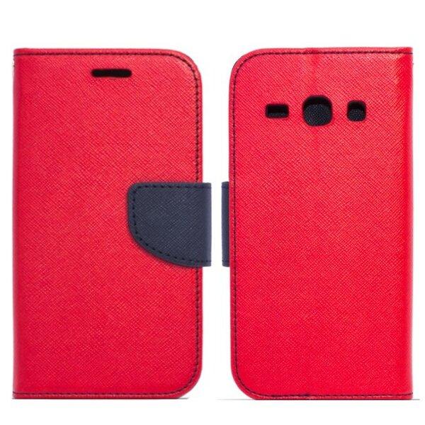 Telone Fancy Diary Book Case ar stendu Microsoft 535 Lumia sāniski atverams Sarkans/Zils cena