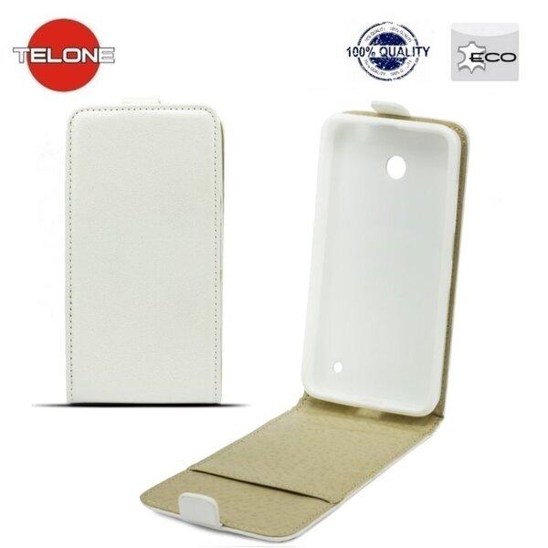 Telone Shine Pocket Slim Flip Case Sony Xperia M4 Aqua telefona maks vertikāli atverams Balts