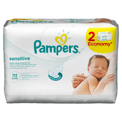 Mitrās salvetes PAMPERS Baby Sensitive, 2x56 gab.