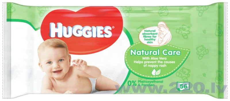 Mitrās salvetes HUGGIES Natural Care, 56gab.