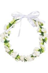 Balta mini ziedu galvas rota ar baltu lenti cena un informācija | Balta mini ziedu galvas rota ar baltu lenti | 220.lv