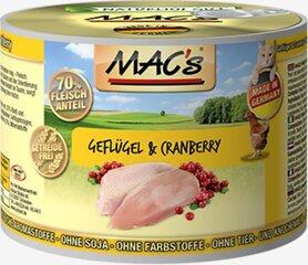 Konservi kaķiem Mac's Poultry & Cranberry 200 g