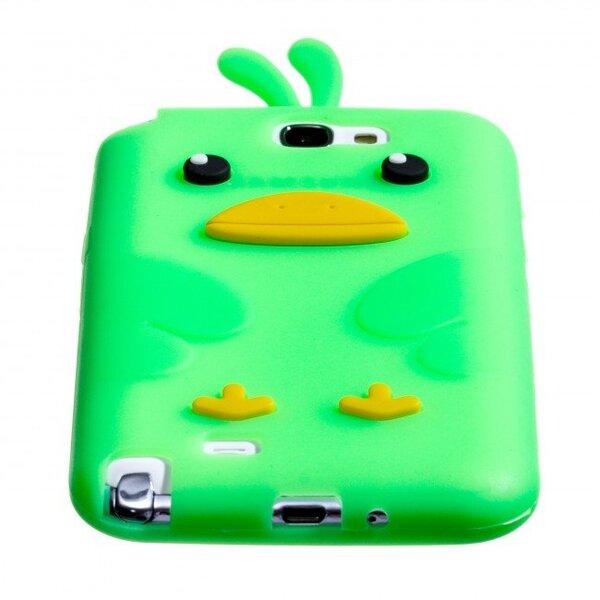 Silikona 3D telefona aizmugurējais apvalks Zooky priekš Samsung N7100 Galaxy Note 2 Cālis Zaļš internetā