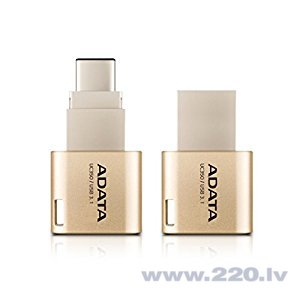 A-DATA UC350 16GB USB3.1 Golden OTG Switchable Type-A and Type-C USB 3.1