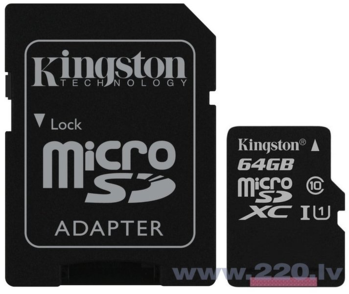 Kingston MicroSDXC 64GB G2 Class10 UHS-I + SD adapteris