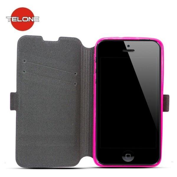 Telone Супер тонкий чехол-книжка со стендом для мобильного телефона Samsung Galaxy J5 (J500F), Розовый