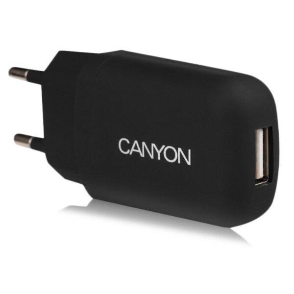 Canyon CNE-CHA11B 1A 5V USB Ligzdas Universāls Tīkla Lādētājs Melns (EU Blister)