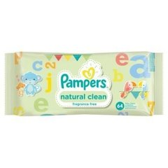Салфетки PAMPERS Natural Clean, 64 шт. цена и информация | Подгузники и аксесуары | 220.lv