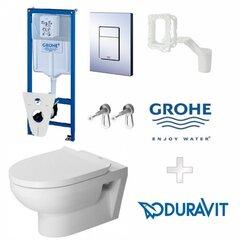 WC komplekts Grohe Grohe Rapid SL 3in1: WC rāmis, stiprinājumi, poga Cosmopolitan + DuraStyle Basic stiprināms pie sienas WC cena un informācija | Tualetes podi | 220.lv