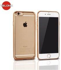 Telone Super Plāns Caurspīdīgs Silikona Aizmugures Apvalks Apple iPhone 5 5S 5SE ar Zelta krāsas rāmīti cena un informācija | Maciņi, somiņas | 220.lv