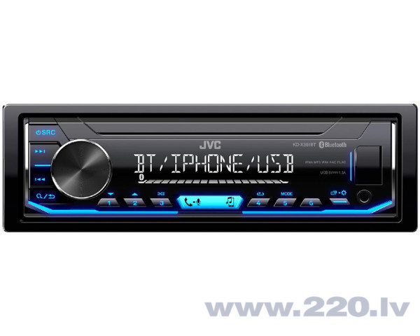 JVC, KD-X351BT USB MP3 magnetola ar AUX ieeju, Bluetooth