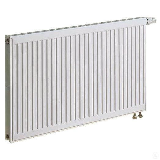KERMI radiators 0.5 x 0.5 m, dubultais, apakšā savienojums ar iebūvētu vārstu.