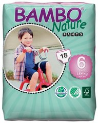 Ekoloģiskās autiņbiksītes - biksītes Bambo Nature XL 6, 18+ kg, 18 gab. cena un informācija | Autiņbiksītes un aksesuāri | 220.lv