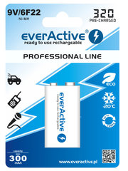 everActive Professional Ready to Use 9V 320mAh baterija, 1 gab.