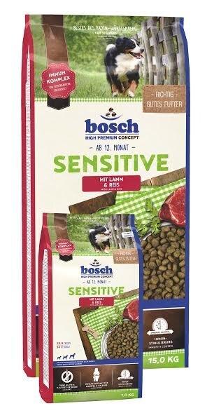 Sausā barība Bosch Sensitive Lamb & Rice (High Premium) 15kg + 1kg DĀVANĀ!