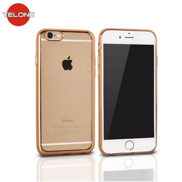 Telone Супер тонкий силиконовый чехол для мобильного телефона LG K8 K350N с золотой рамочкой