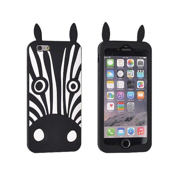 Силиконовый 3D Чехол-крышка Forcell для Apple iPhone 6 / 6S (4.7inch) Черная Зебра