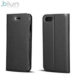 Sāniski atverams maciņš Blun Premium Matt priekš Huawei P8 Lite Melns