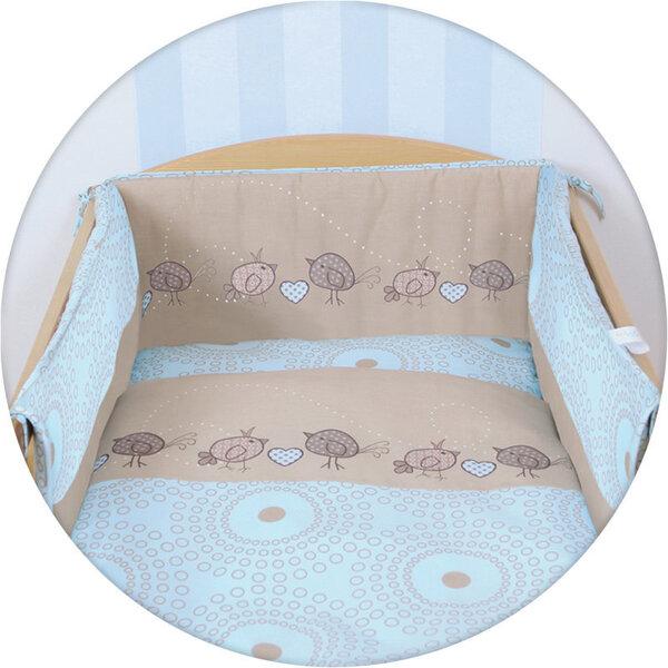 Bērnu gultas komplekts CebaBaby (putni, brūns), 3 daļas