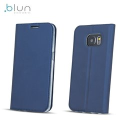 Sāniski atverams maciņš Blun Premium Matt Eco-leather Smart Magnetic Fix Book Case priekš Huawei P8 Lite (2017) / P9 Lite (2017), Zils
