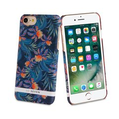 Apple iPhone 7 apvalks Rubber Jardin Hiver Patern Flowers So Seven, Zils