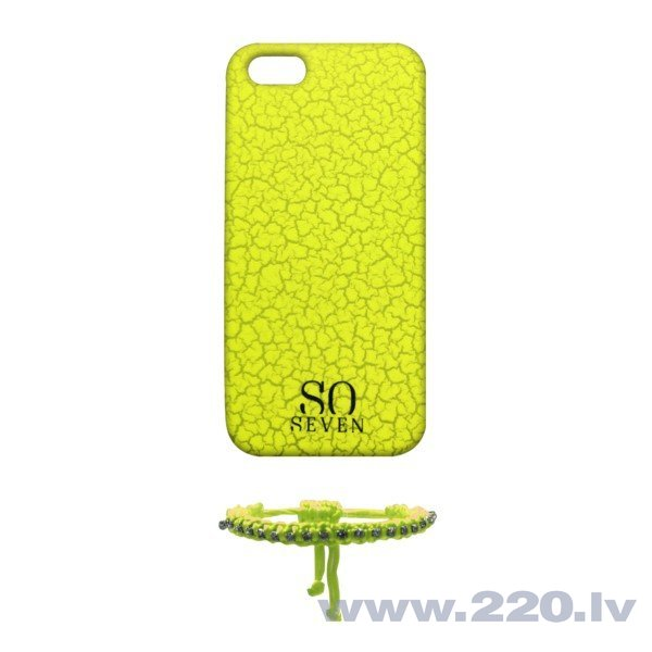 Apple iPhone 5/5S/SE cover Fluo cracks + Bracelet by So Seven Yellow