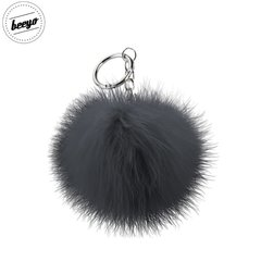 Piekariņš Beeyo Soft Fluffy Ring the Pompom & Smartphone Finger Holder and Stand Gadget melns/sudraba