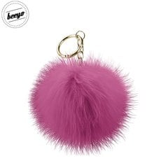 Piekariņš Beeyo Soft Fluffy Ring the Pompom & Smartphone Finger Holder and Stand Gadget rozā/zelta