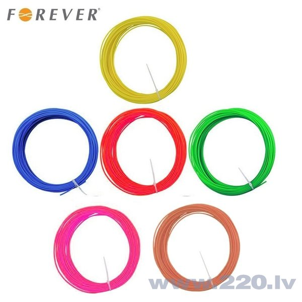 Forever ABS 1.75mm filament set 6in1 Red / Blue / Green / Yellow / Brown / Pink 3m each for 3D Printing Pen