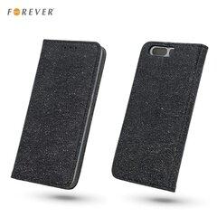 Sāniski atverams maciņš Forever ar spīdumiem priekš Samsung J530F Galaxy J5 (2017), Melns